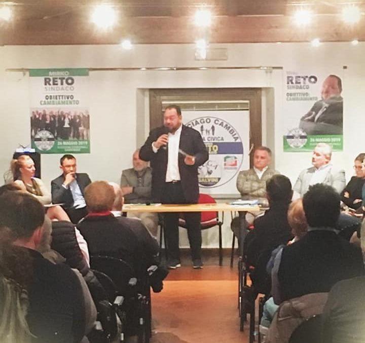 Sala piena per la presentazione al pubblico della lista di Mirko Reto