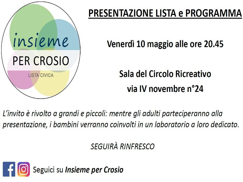 Insieme per Crosio: presentazione lista e programma