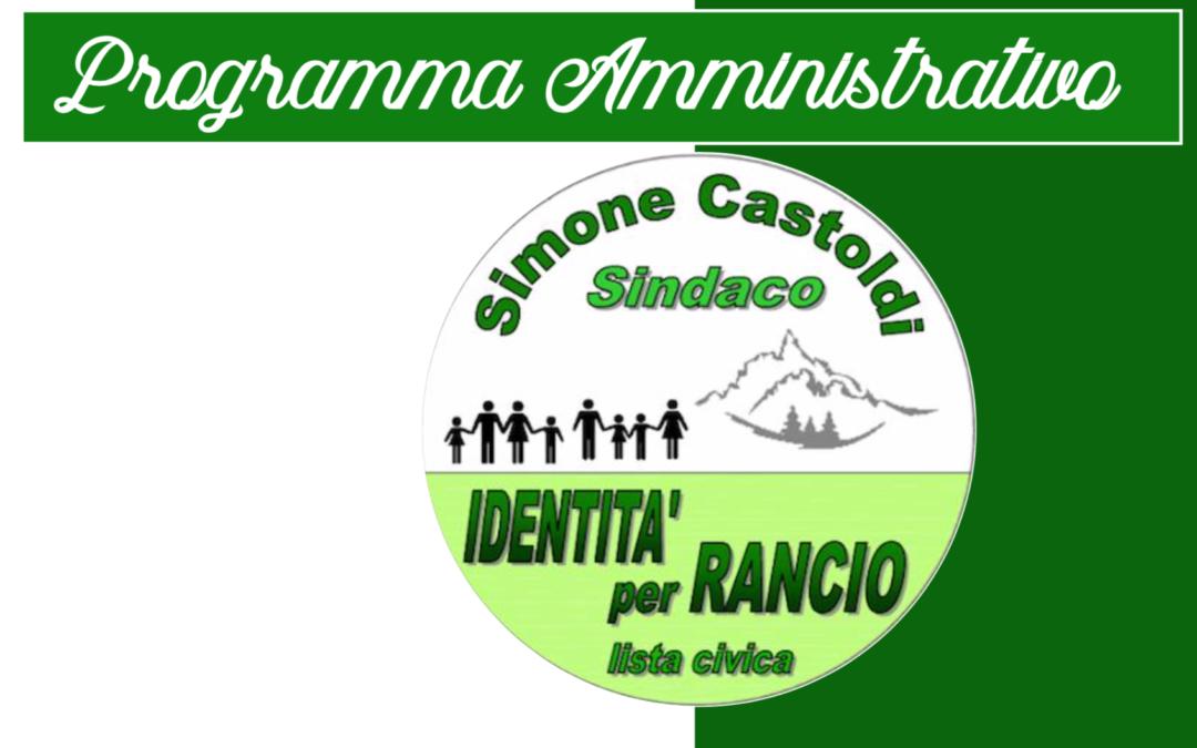 """ll programma della lista """"Identità per Rancio"""""""